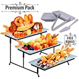 3 Tier Serving Tray Stand – Rectangular Dessert Party Platter with BONUS Sauce Dishes Cake Server and Serving Tongs – Three Tiered Cupcake and Food Holder Display for Weddings, Birthdays, Dinners