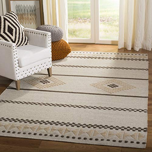Safavieh Dhurries Collection DHU351A Hand Woven Natural Premium Wool Area Rug 5 x 8