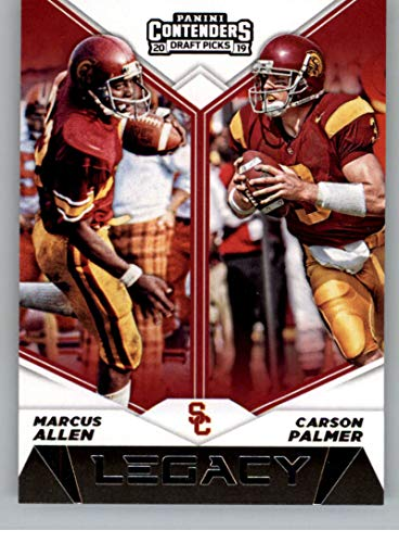 Football Trojans Ncaa - 2019 Panini Contenders Draft Tickets Legacy #19 Carson Palmer/Marcus Allen USC Trojans NCAA Football Trading Card