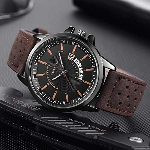 DBCSD Watch Wrist Watch with Calendar & Leather Strap/Band & Alloy Case Watch for Man (Black) Calendar Brown Leather Strap