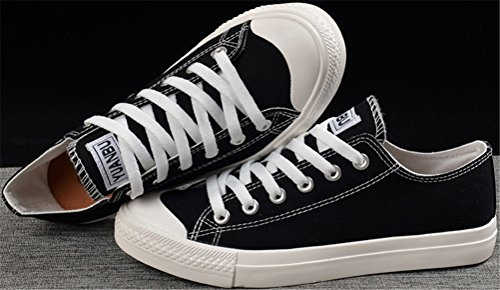 SATUKI Canvas Shoes For Men,Fashion Sneakers,Casual Low Top Classic Lace Up Soft Athletic Lightweight Sports Shoes Black