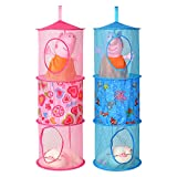 Mesh Hanging Organizer,Homecube 2 Pcs Toy Storage Space Saver Bags with 3 Compartments,Pink and Blue