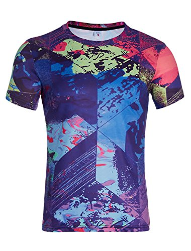Loveternal Colorful Trippy Geometric Wallpaper Pattern Printed Cool Shirts Casual Short Sleeve Tees Tops For Men Women XL