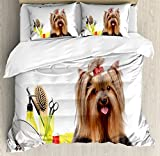Yorkie King Size Duvet Cover Set by Ambesonne, Yorkshire Terrier with Stylish Hairdressing Equipment Mirror Scissors, Decorative 3 Piece Bedding Set with 2 Pillow Shams, Dark Brown Multicolor