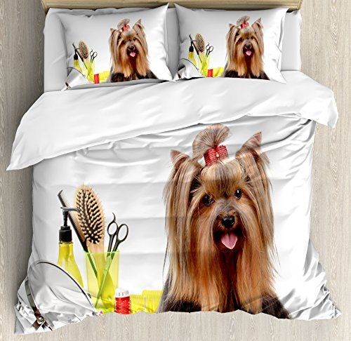 Yorkie King Size Duvet Cover Set by Ambesonne, Yorkshire Terrier with Stylish Hairdressing Equipment Mirror Scissors, Decorative 3 Piece Bedding Set with 2 Pillow Shams, Dark Brown Multicolor by Ambesonne