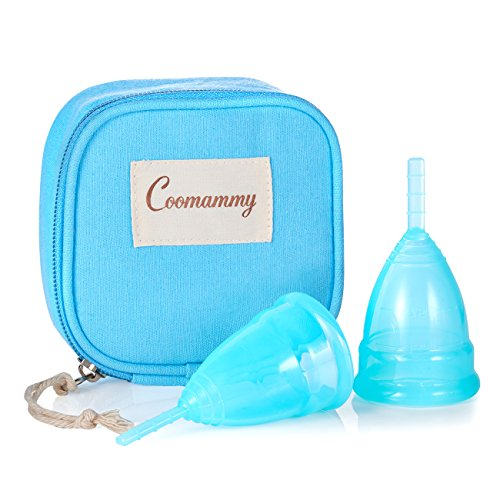 Coomammy Reusable Menstrual Cup with Zipper Bag,Most Economic and Comfortable Feminine Hygiene Period Cup,Packof2 (Large+Small, Turquoise)