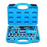17Pcs Diesel Injector Seat Cutter Cleaner Universal Injector Re-Face Reamer Tool Set
