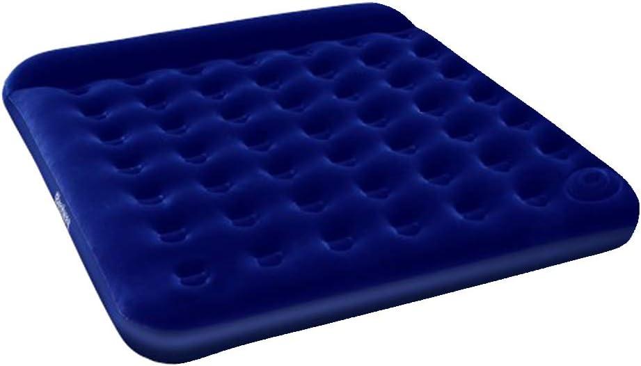 NEW Bestway Flocked Inflatable Air Mattress Bed w// Built-in Foot Pump Blue Queen