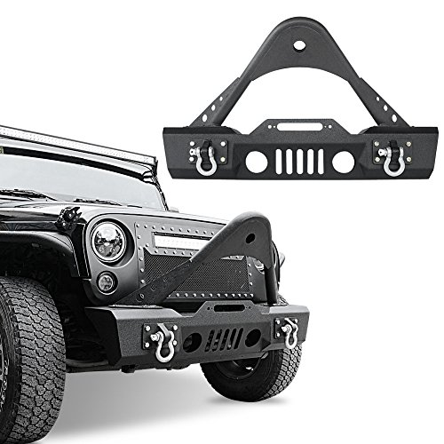 LEDKINGDOMUS Stinger Front Bumper for 07-18 Jeep Wrangler JK and JK Unlimited With Fog Lights Housing and Winch Plate Black Textured