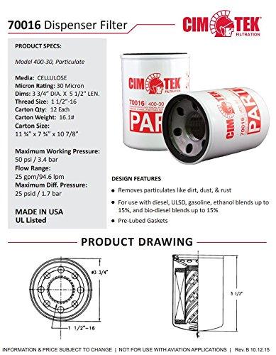 Amazon.com: Cim-Tek 70016-12 400-30 Spin-On Filter 400-30 30 Micron  12-Pack: Automotive