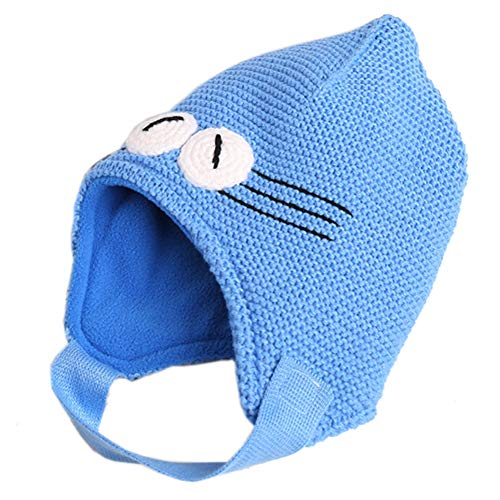 Hat Earflap Pattern Knitting - Exemaba Cute Infant Toddler Winter Warm Beanies Hat Earflap Boys Cap (Blue,L)