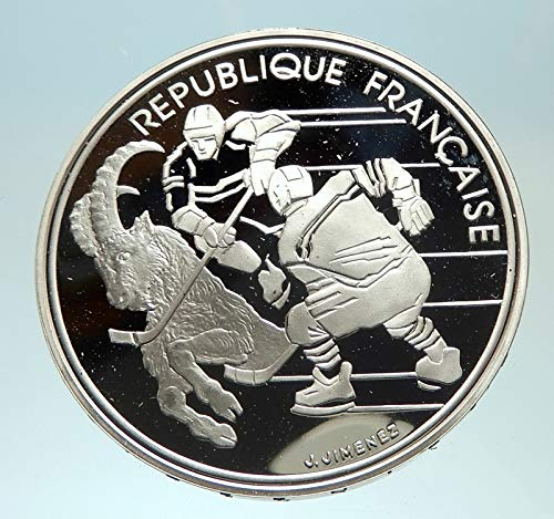 1991 FR 1991 FRANCE Hockey Goat 1992 Olympics Proof AR 10 coin Good Uncertified