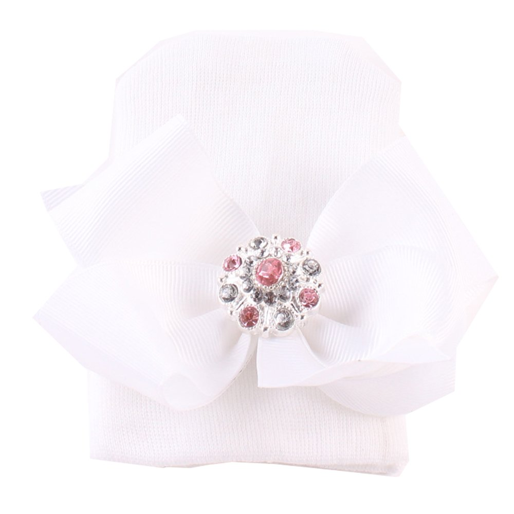 Evelin LEE Newborn Baby Girl Cute Pretty Bow Flower Pearl Hospital Hat