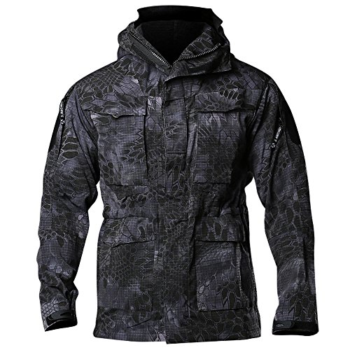 Vanca Men Army Jacket Military Waterproof Tactical Workout Outdoor Sport Training Loose Fit Big and Tall Utility Hiking Jackets(Black PythonXL)
