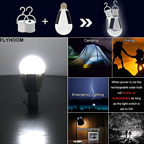 Portable LED Solar Lights Bulb Outdoor Flyhoom 7W 420lm Rechargeable Camping Tent Light (White)
