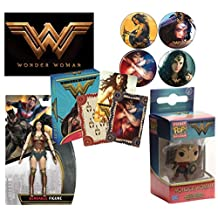 PopShoppes Wonder Woman Movie PopBox Deluxe Set (Bendable Figure, Playing Cards, Vinyl Figure Keychain, Magnet and Button Set) Cool Value!