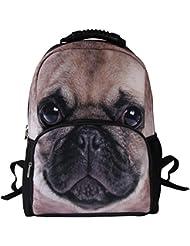 Animal Face™ 3D Animals Pug Dog Backpack 3D Deep Stereographic Felt Fabric