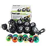 JeBao Submersible 6 pcs 12-Led Pond Lights for Underwater Fountain Pond Water Garden