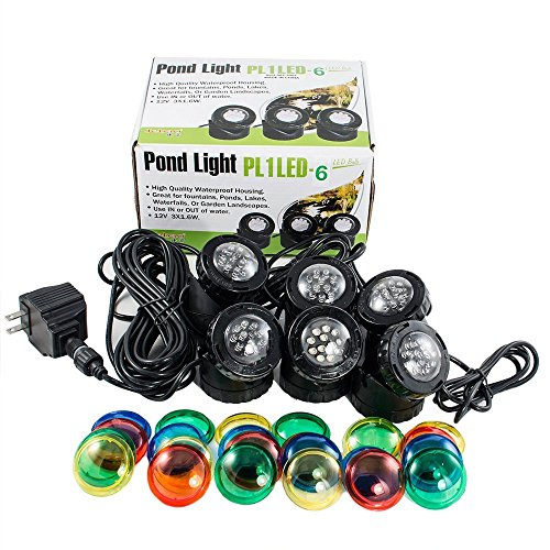 Jebao PL1LED-6 Submersible Pond LED Light with Colored Lenses ()