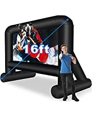 16 Feet Inflatable Movie Screen Outdoor, Projection Screen with Air Blower, Tie-Downs and Storage Bag - Easy Set up, Mega Blow Up Screen for Backyard Movie Night, Theme Parties, Celebrations