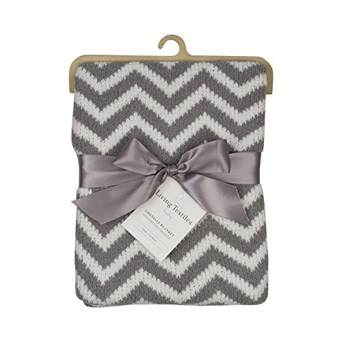 Living Textiles Chenille Baby Blanket. Grey Chevron Ultra-Soft Throw Blanket for Cribs and ()