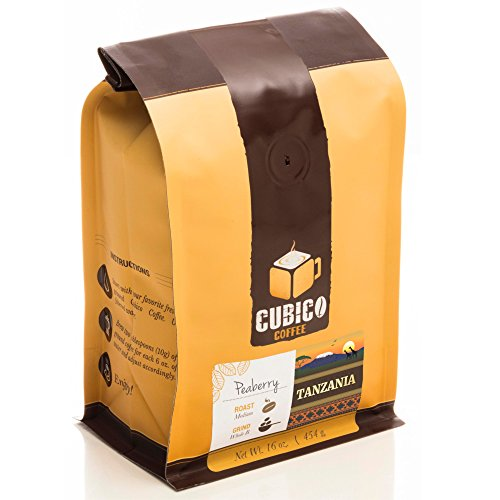 Tanzania Peaberry Coffee - Whole Bean Coffee - Freshly Roasted Coffee - Cubico Coffee - 16 Ounce (Single Origen Peaberry Tanzanian Coffee)
