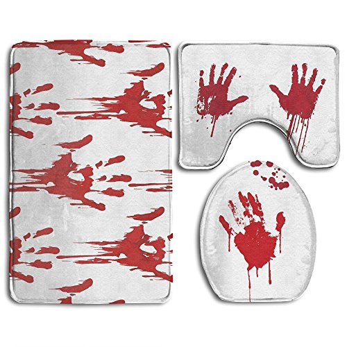 FionaLin Bath Mat,3 Piece Bathroom Rug Set,Funny Bloody Hands Horror Halloween Theme Non Slip Toilet Seat Cover Set,Large Contour Mat,Lid Cover For Men/Women