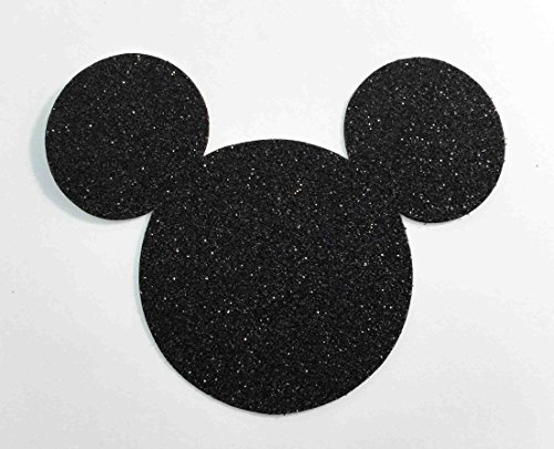 (Disney Mickey Mouse Black Glitter Card Stock Die Cuts Large 4 Inch)