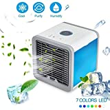 SURPCOS Air Cooler Personal Space USB Portable Air Conditioner, New Upgrade Mini Smart Humidifier Cooling Fan with 7 Colors LED Lights for Household Yoga Work Night Light Outdoor Travel and More