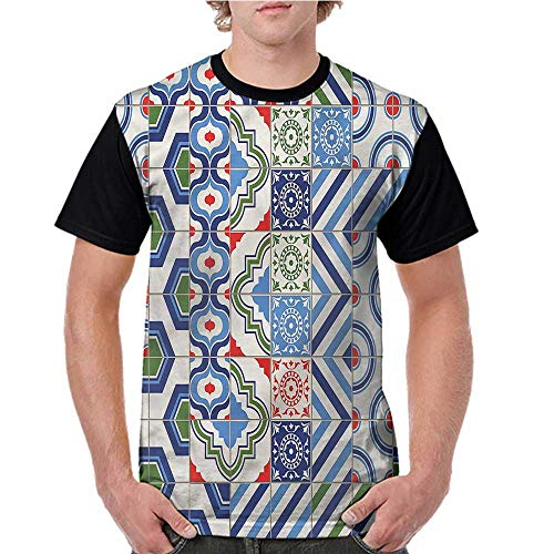 Lightly Baseball Tee Shirt,Retro,Colorful Shapes S-XXL Men Short Sleeve ()