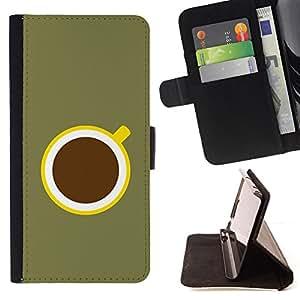 BullDog Case - FOR/Apple Iphone 4 / 4S / - / COFFEE MINIMALIST OLIVE GREEN YELLOW /- Monedero de cuero de la PU Llevar cubierta de la caja con el ID Credit Card Slots Flip funda de cuer