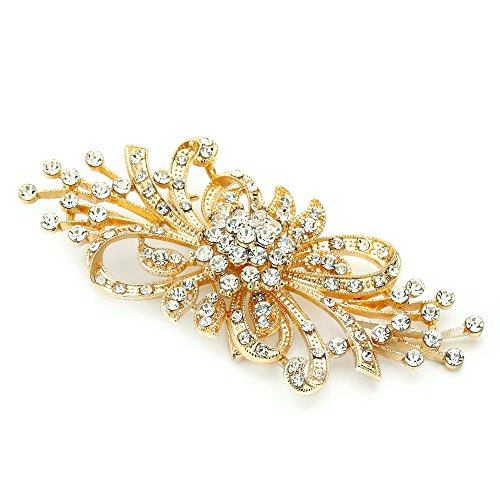 - Mariell Vintage Spray Bridal Crystal Brooch Pin - 14Kt Gold Plated Wedding Rhinestone Brooches