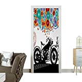 Door Sticker Wall Decals Motorcycle and Abstract Circle Shapes Ornament Urban Modern Life Clubs Party Im Easy to Peel and StickW17.1 x H78.7 INCH