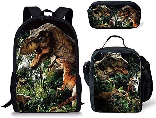 ZERODATE School Bag Backpack Bookbag Lunchbag Totes Set Pen case Dinosaur 3PCS Set