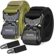 TEUVO 2 Pcs Tactical Belts for Men, Utility Belt with Quick Release Buckle for Police, Firefighters and Securi