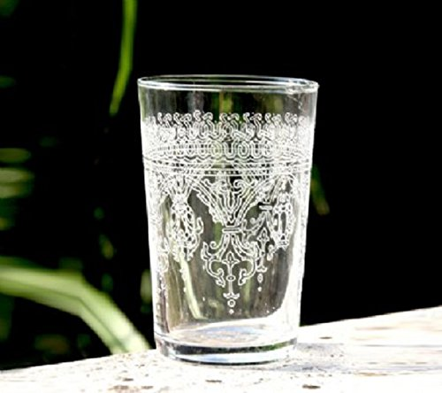 Casablanca Market Moroccan Fnar Tea Glasses, Clear, Set of 6