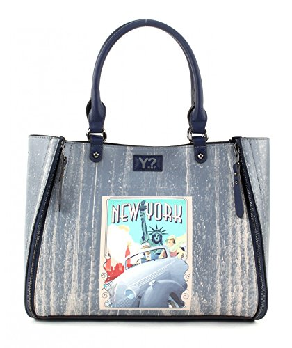 Borsa Multifunzione York Postcards M Perché Multifunction gris Azul No Not Shopper Y New Cartoline HqfzKOYyFB