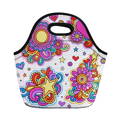 Semtomn Neoprene Lunch Tote Bag Flower Groovy Psychedelic Doodles on Lined Sketchbook Hippy Heart Reusable Cooler Bags Insulated Thermal Picnic Handbag for Travel,School,Outdoors,Work