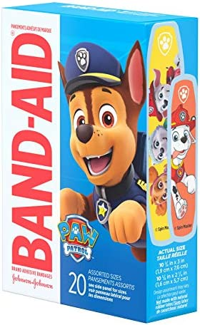 51N1XgFEZCL. AC - Band-Aid Brand Adhesive Bandages For Minor Cuts & Scrapes, Wound Care Featuring Nickelodeon Paw Patrol Characters For Kids And Toddlers, Assorted Sizes 20 Ct