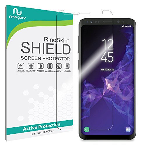 Screen Protector Compatible with Galaxy S9 Screen Protector by RinoGear [Active Protection] (Edge-to-Edge) Flexible HD Invisible Clear Shield Anti-Bubble