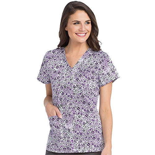 Med Couture Notch Neck Scrub Top Floral Wonders, (Scrub Couture Top)
