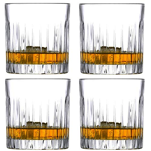Maypink Glasses Set for Whiskey Old Fashioned Stemless Crystal Cups Set of 4 Clear Glasses 10 Ounces