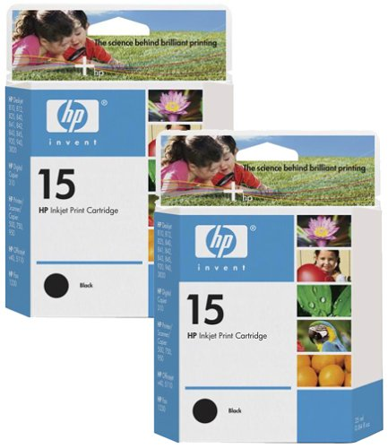HP 15 Black Original Ink Cartridge (C6615DN) (Hp No 15 Twin)