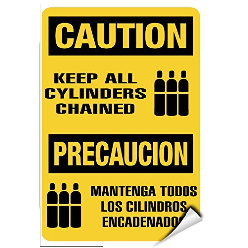 Sign Precaucion - WenNuNa Wall Sticker Caution Keep All Cylinders Chained Precaucion Hazard Sign Wall Decal Sticker 9x12 Inches