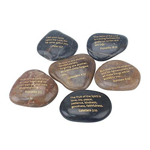 Scripture Stone (Stonebriar Inspirational Scripture Stones, Religious Gift Ideas for Friends and Family, Decorative 6 Piece Set)