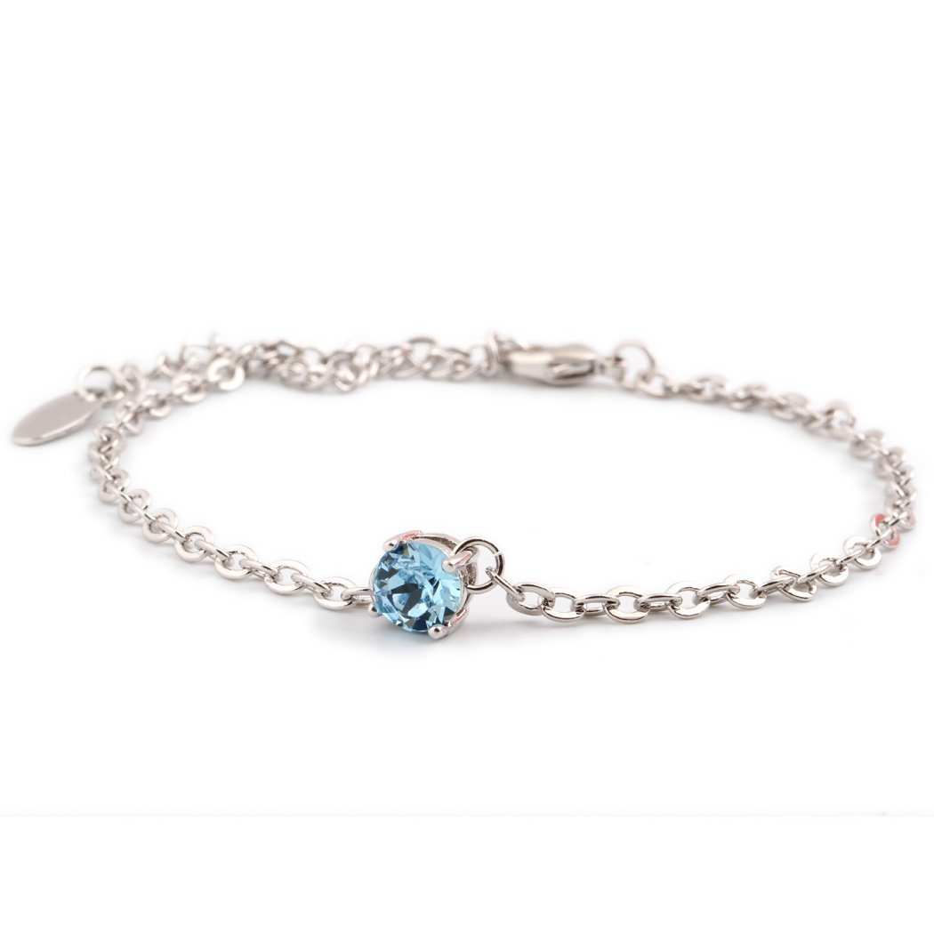 Womens /& Girls 316L Stainless Steel Link Chain Bracelet with Shining Blue CZ Crystal Wedding Bracelet