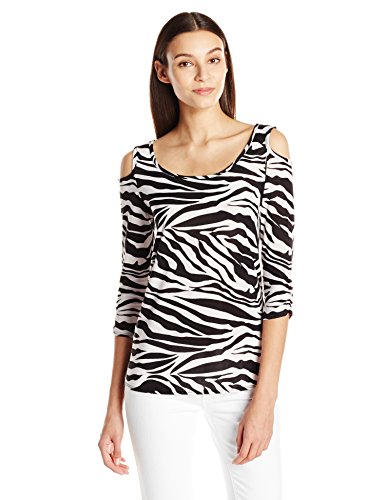 (Star Vixen Women's Long Sleeve Cold Shoulder Super Soft Top, Ivory/Black Zebra, Large)