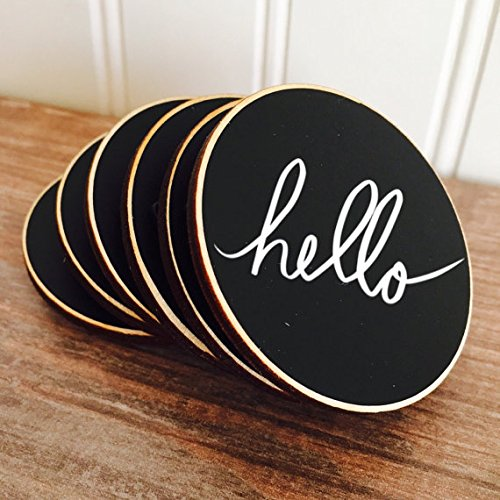50 Circle {BLANK} Reusable Chalkboard Name Tags with Magnets, Wedding Chalkboard Place Cards, Name Tags for Meetings and Corporate Events by Bradens Grace