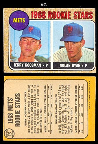 - 1968 Topps Regular (Baseball) card#177 Nolan Ryan/Koosman of the New York Mets Grade Very Good