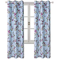 """2 Panels Curtains Classical Vintage Floral Pattern Lucky Birds Vintage Floral Printed Room Darkening Window Drapes Grommets Top (42"""" Wx84 L Each Panel, Blue)"""